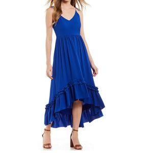 Belle Badgley Mischka Ruffle Hi-Lo Dress Blue